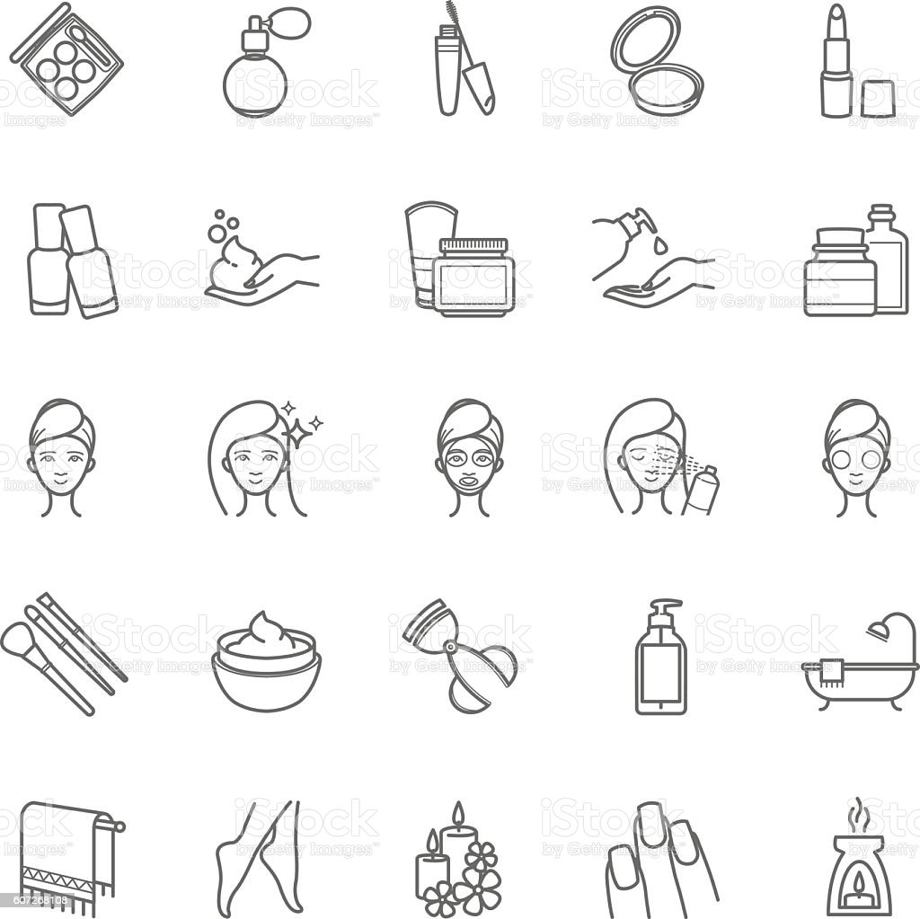 Thin line cosmetic icons - illustrazione arte vettoriale