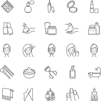 Thin Line Cosmetic Icons - Stockowe grafiki wektorowe i więcej obrazów Ciecz