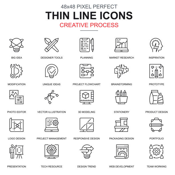 illustrazioni stock, clip art, cartoni animati e icone di tendenza di thin line creative process and project workflow icons set - project