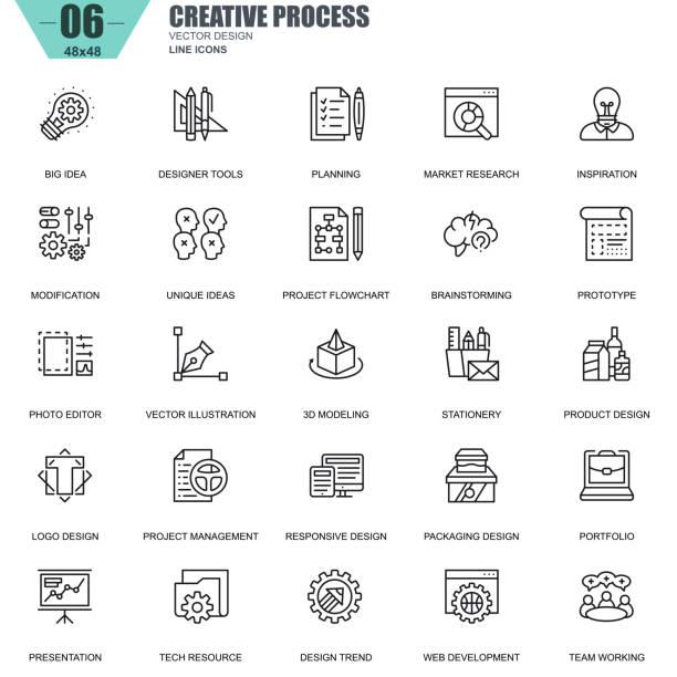 ilustraciones, imágenes clip art, dibujos animados e iconos de stock de delgada línea creativa proyecto y proceso de flujo de trabajo iconos - research
