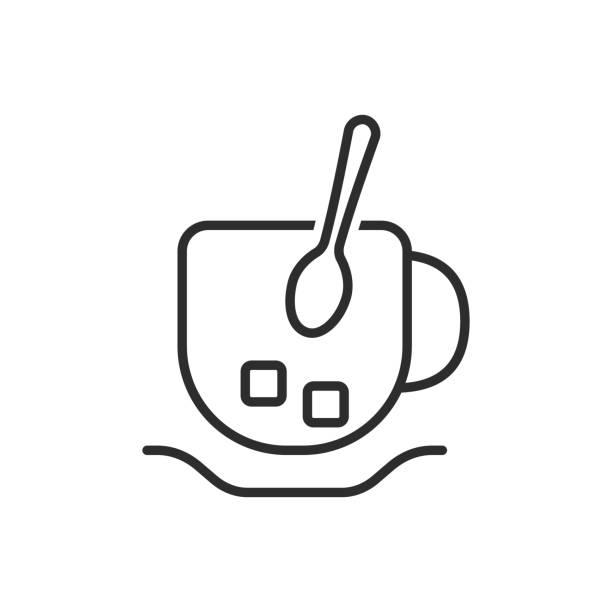 ilustrações de stock, clip art, desenhos animados e ícones de thin line cup and spoon icon - lapa