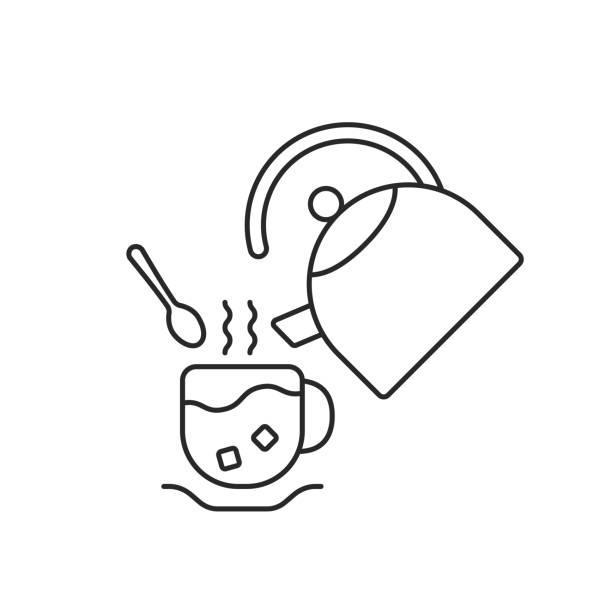 ilustrações de stock, clip art, desenhos animados e ícones de thin line cup and teapot - lapa