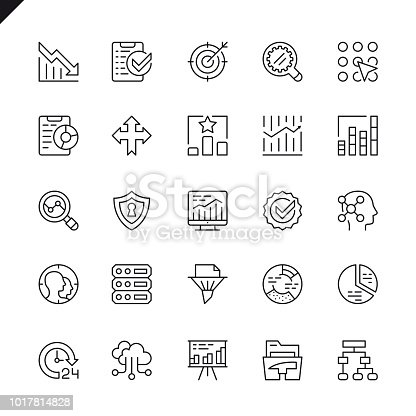 Thin line data analysis, statistics, analytics icons set for website and mobile site and apps. Outline icons design. 48x48 Pixel Perfect. Linear pictogram pack. Vector illustration.