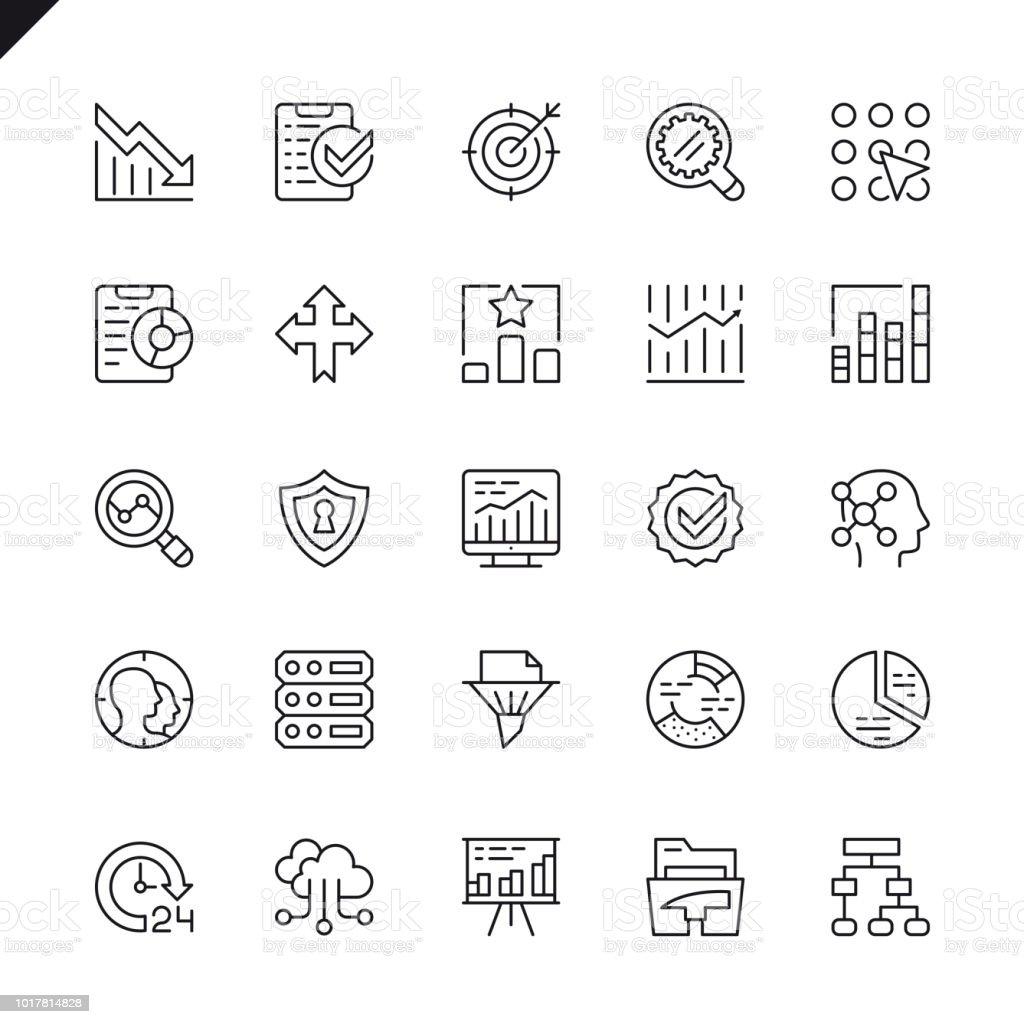 Análisis de datos de línea fina, estadísticas, análisis conjunto de los iconos - ilustración de arte vectorial