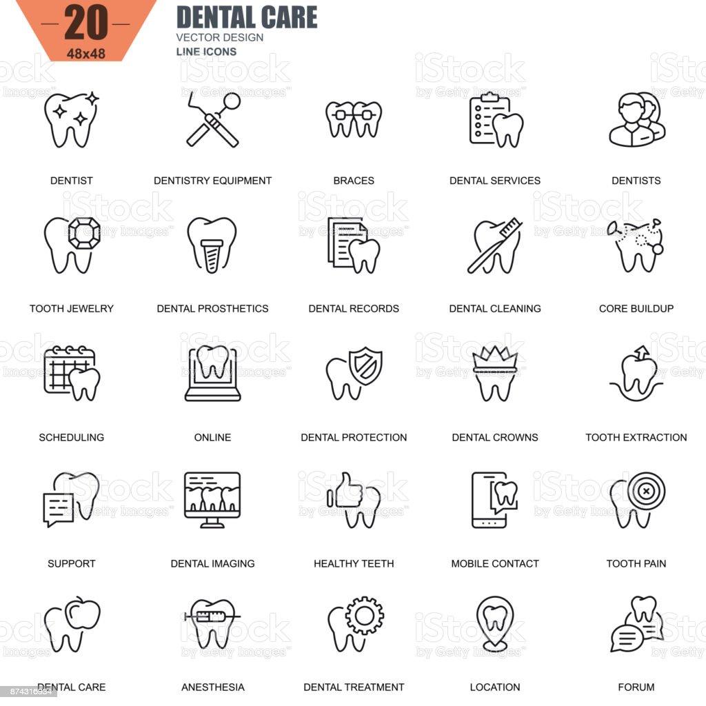 Thin line dental care, dentistry equipment, hygiene icons