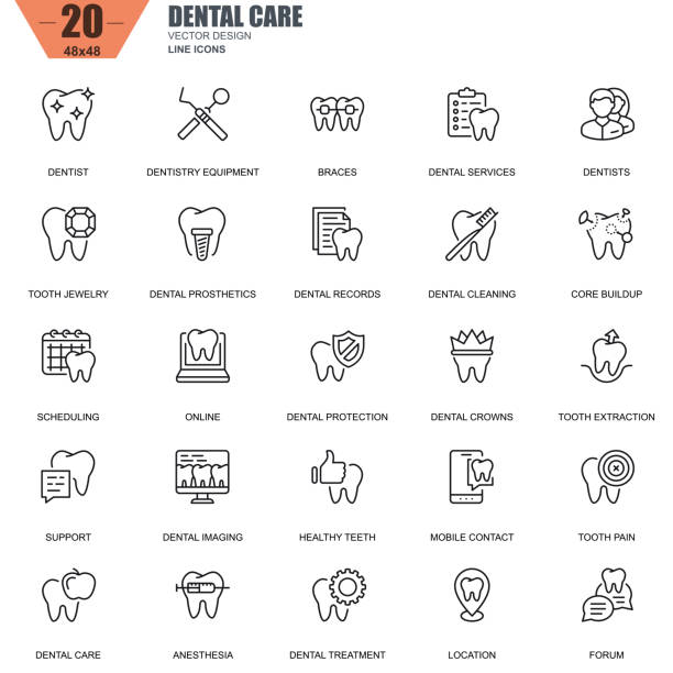 illustrazioni stock, clip art, cartoni animati e icone di tendenza di thin line dental care, dentistry equipment, hygiene icons - denti