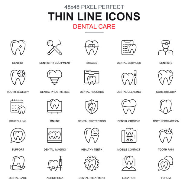 thin line dental care, dentistry equipment icons set - dentist stock illustrations, clip art, cartoons, & icons