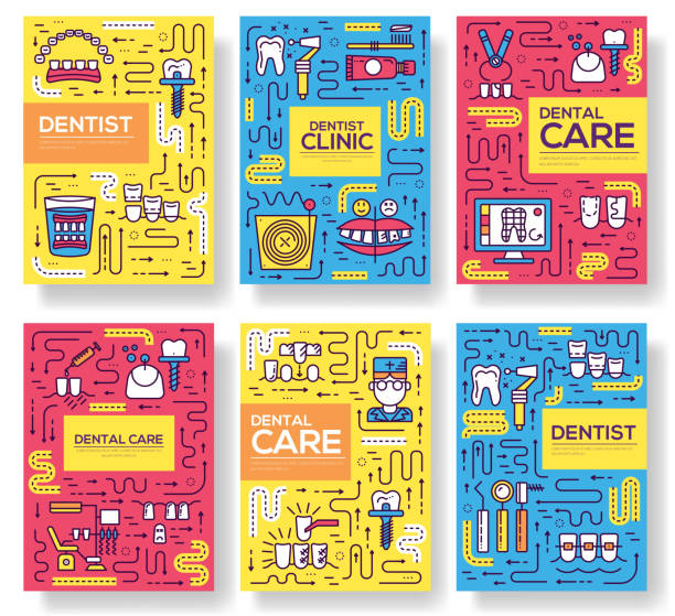 Thin line dentist clinic baking brochure cards set.  Dent instruments template of flyear, magazines, poster, book cover, banners. Outline medical invitation concept vector art illustration