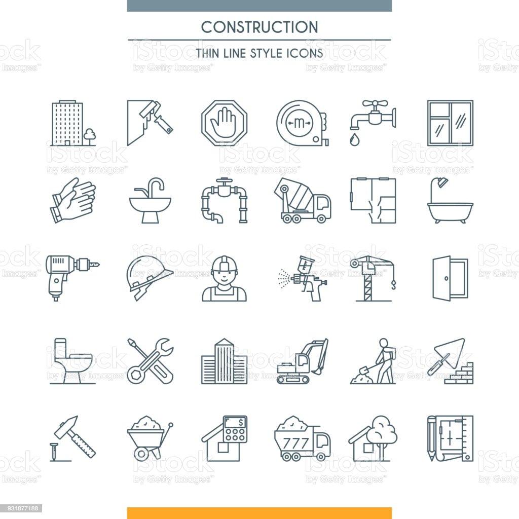 iconos de construcción de diseño de línea delgada - ilustración de arte vectorial