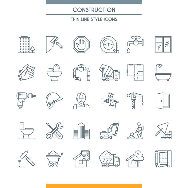 thin line design construction icons Thin line design icons on construction theme. Building, home repair tools and construction works symbols. Vector illustration renovation stock illustrations
