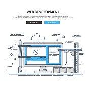 Thin line design website under construction. web page building process