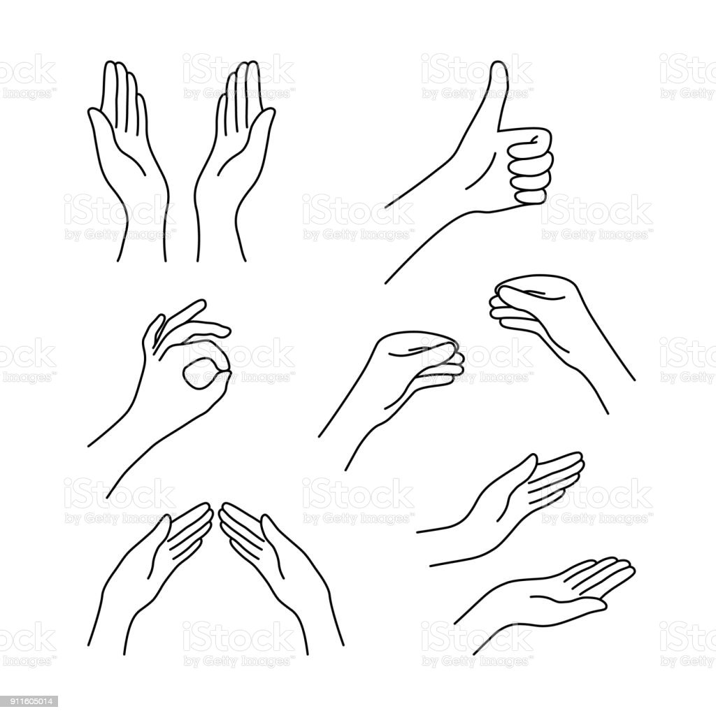 thin line drawing black hands collection vector art illustration