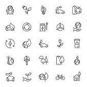 Thin line Ecology icons set on white background