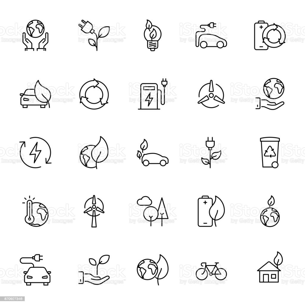 Thin line Ecology icons set vector art illustration