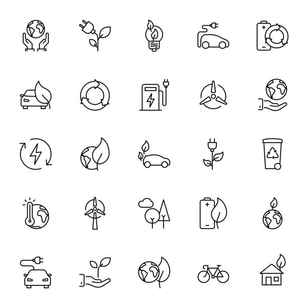 thin line ecology icons set - energy saving stock illustrations, clip art, cartoons, & icons