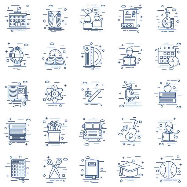 ilustraciones, imágenes clip art, dibujos animados e iconos de stock de delgada línea educación icono - clase de arte