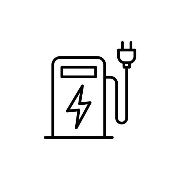 thin line electric car charge station icon thin line electric car charge station icon on white background electric vehicle charging station stock illustrations