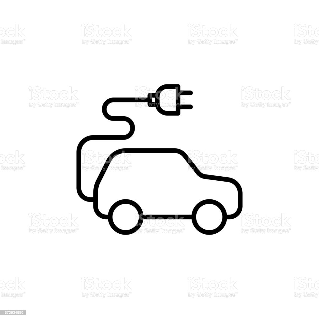 thin line electric car icon vector art illustration