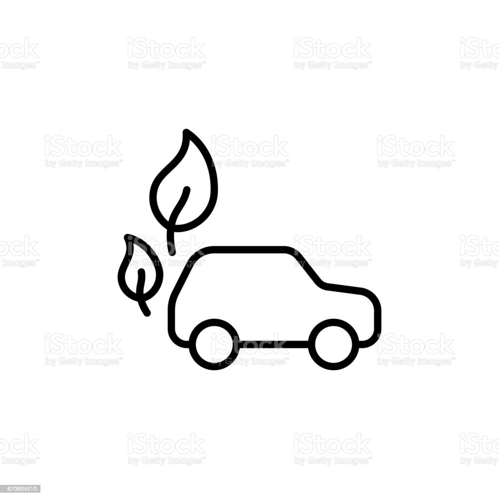 thin line electric car with leafs icon vector art illustration