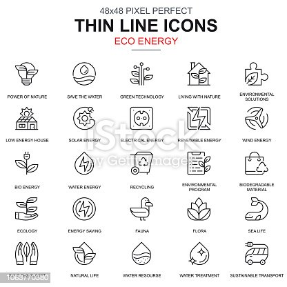 Thin line environment, renewable energy icons set for website and mobile site apps. Contains such Icons as Eco, Green Technology. 48x48 Pixel Perfect. Linear pictogram pack. Vector illustration.