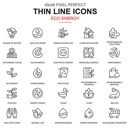 Thin line environment, renewable energy icons set