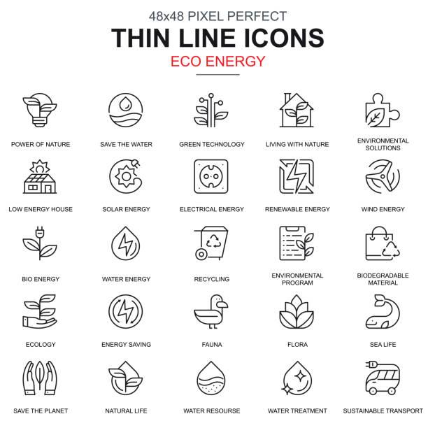 illustrations, cliparts, dessins animés et icônes de environnement de ligne de mince, énergie renouvelable icônes définies - développement durable