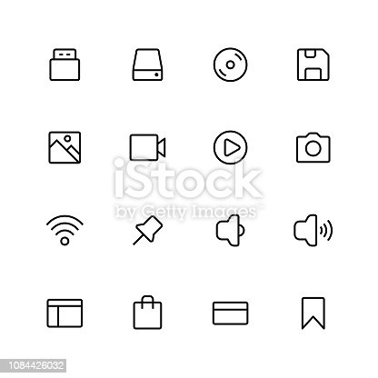 Vector illustration of a collection of pixel perfect and thin line art essential icons.