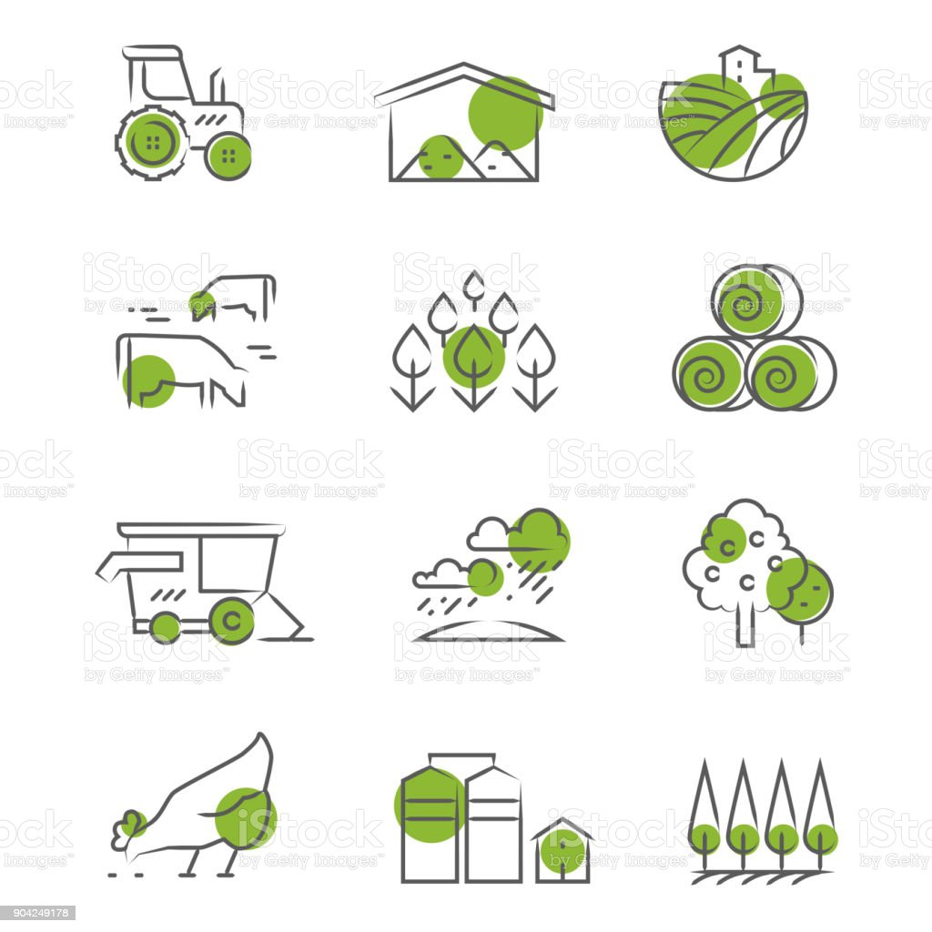 Thin line farm icons set vector art illustration