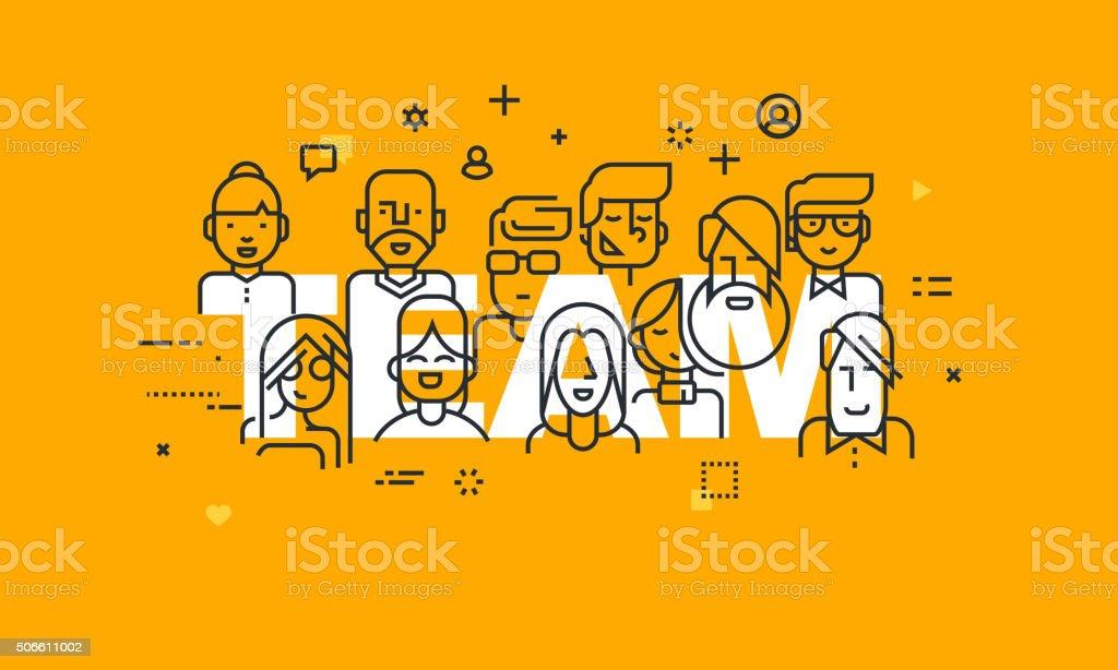 Thin line flat design banner of business people teamwork vector art illustration