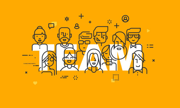 Thin line flat design banner of business people teamwork Thin line flat design banner of business people teamwork, human resources, career opportunities, team skills, management. Vector illustration concept of word team for web and mobile website banners. community patterns stock illustrations