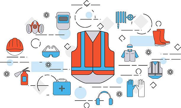 ilustraciones, imágenes clip art, dibujos animados e iconos de stock de thin line flat design banner of safety work - equipo de seguridad