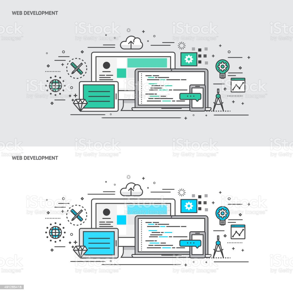 Thin line flat design concept banners for Web Development vector art illustration