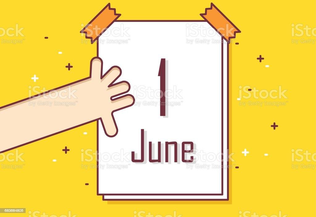 Tarjeta de felicitación de línea fina diseño plano. Mano con el calendario. Meses de verano. Banner Vector - ilustración de arte vectorial