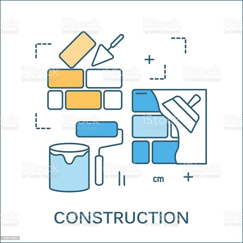 thin line flat design of construction tools stock vector art