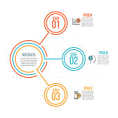 Thin line flat circles for infographic. Template for diagram, graph, presentation and chart. Business concept with 3 options, parts, steps or processes. Data visualization.