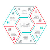 Thin line flat element for infographic. Template for diagram, graph, presentation and chart. Business concept with 6 options, parts, steps or processes. Data visualization.