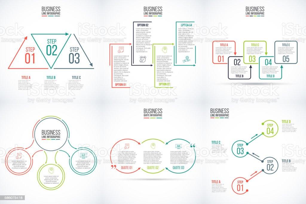 Thin line elementos de infografía con pantalla plana. - ilustración de arte vectorial