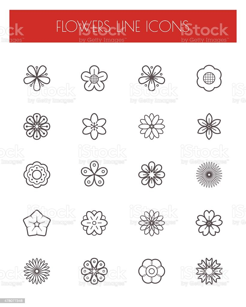 Thin line flower icons set. vector art illustration