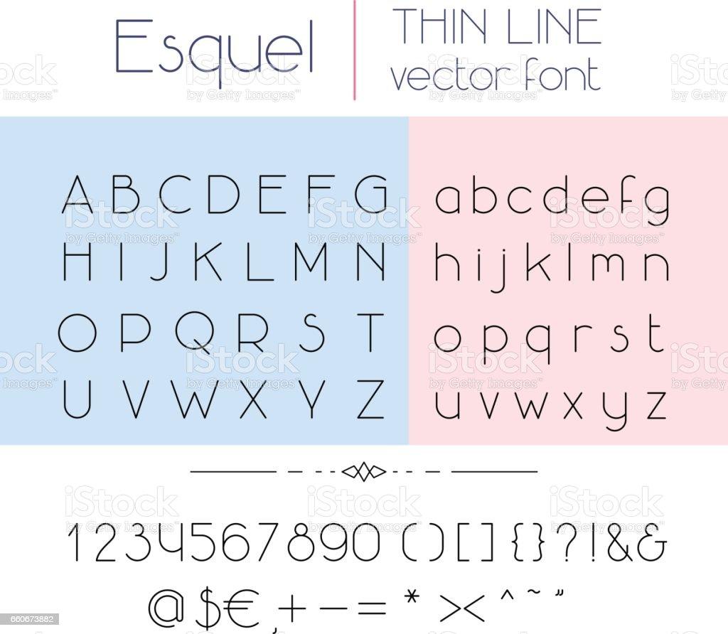 Thin line font vector art illustration