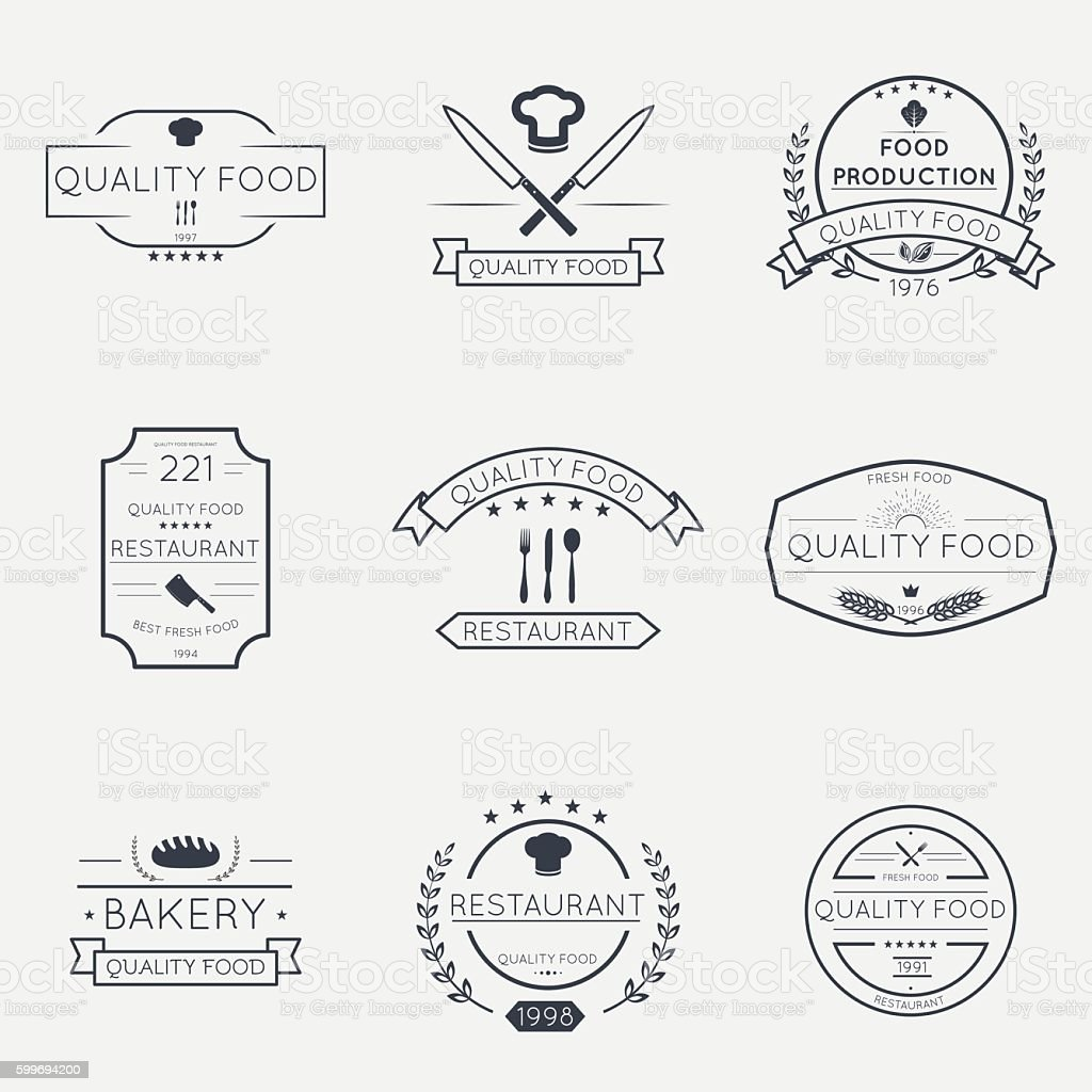 Thin line food emblems - Illustration vectorielle