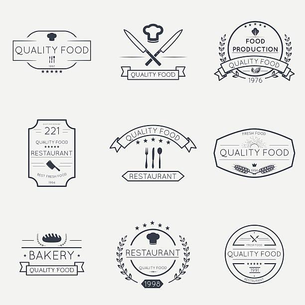 Thin line food emblems - Illustration vectorielle