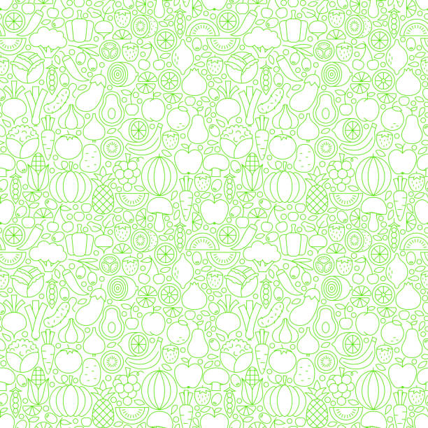 Thin Line Fresh Fruits Vegetables White Seamless Pattern Thin Line Fresh Fruits Vegetables White Seamless Pattern. Vector Website Design and Tile Background in Trendy Modern Outline Style. Healthy Vegetarian Food. fruit designs stock illustrations