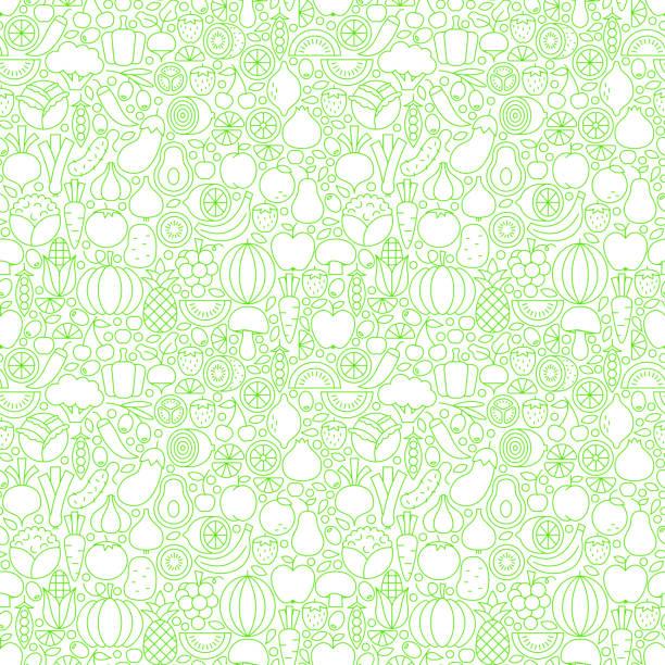 thin line fresh fruits vegetables white seamless pattern - オーガニックフード点のイラスト素材/クリップアート素材/マンガ素材/アイコン素材