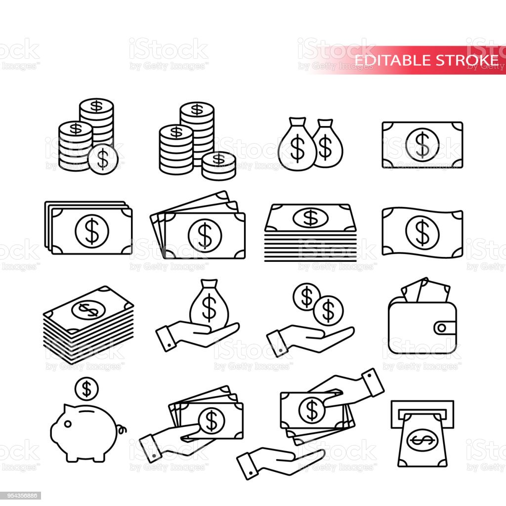 Thin line, fully editable icon set. Money icons. Money stack, coin stack, piggy bank, wallet with money, cash payment, hand holding money icons. - Royalty-free Atividade bancária arte vetorial