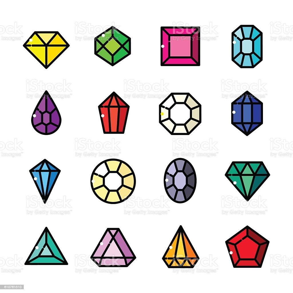 Thin line Gems icons set, vector illustration