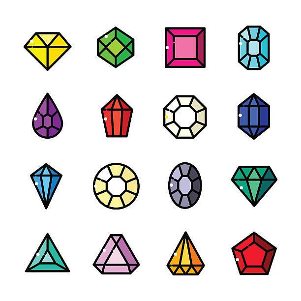 illustrations, cliparts, dessins animés et icônes de thin line gems icons set, vector illustration - bijou