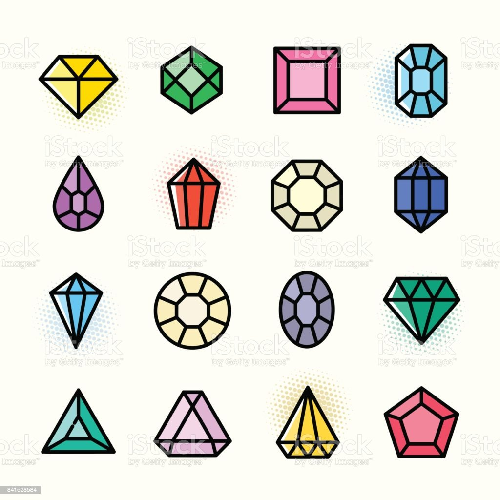 Thin line Gems icons set, vector illustration vector art illustration