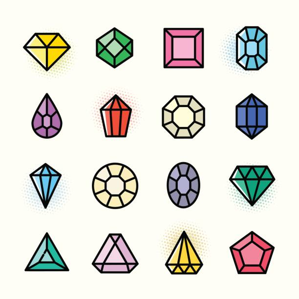 thin line gems icons set, vector illustration - gemstone stock illustrations, clip art, cartoons, & icons