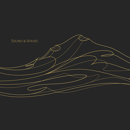 Thin line gold music abstract cover design with title.