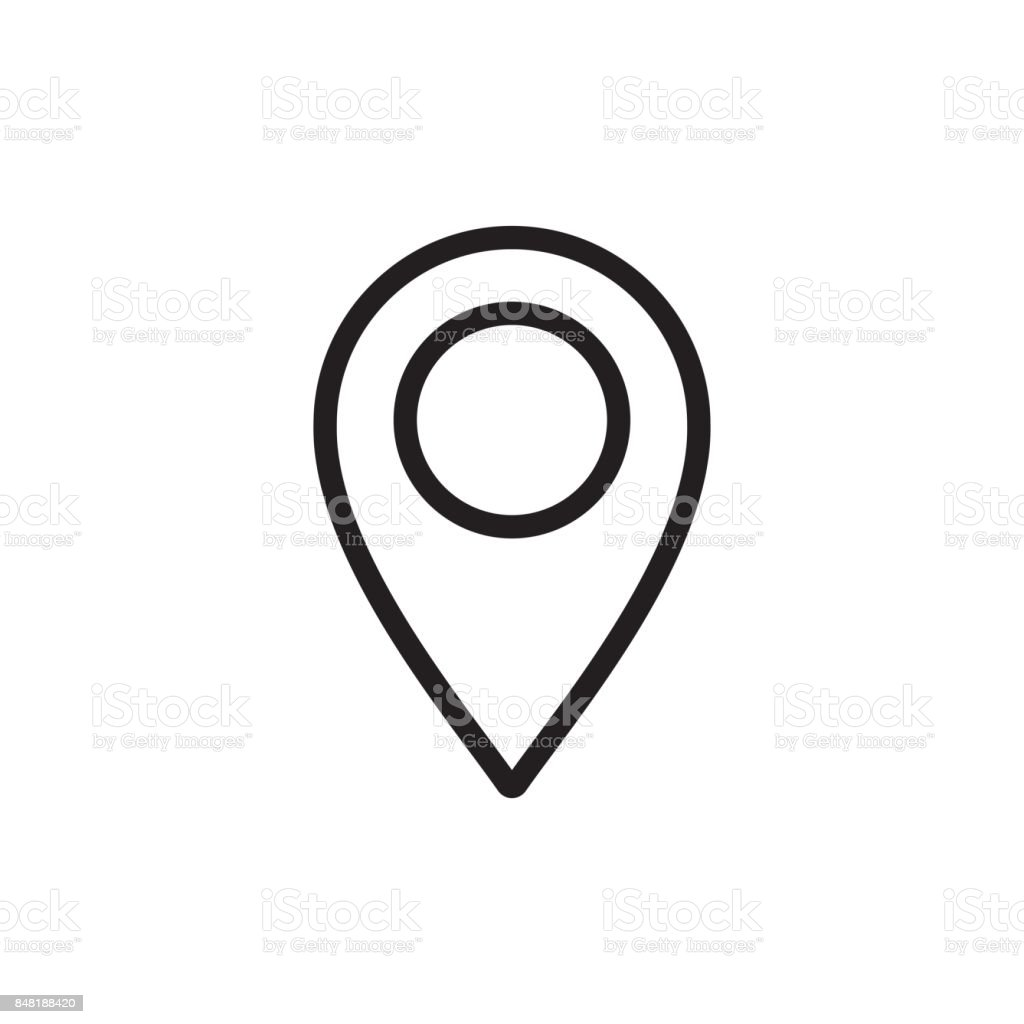thin line google map, pin point, location icon vector art illustration